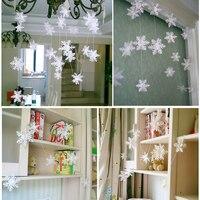 Nuevos suministros de fiesta congelados 3 metros plata copo de nieve forma guirnalda de papel Navidad decoración de la boda escena de Año Nuevo Decoración