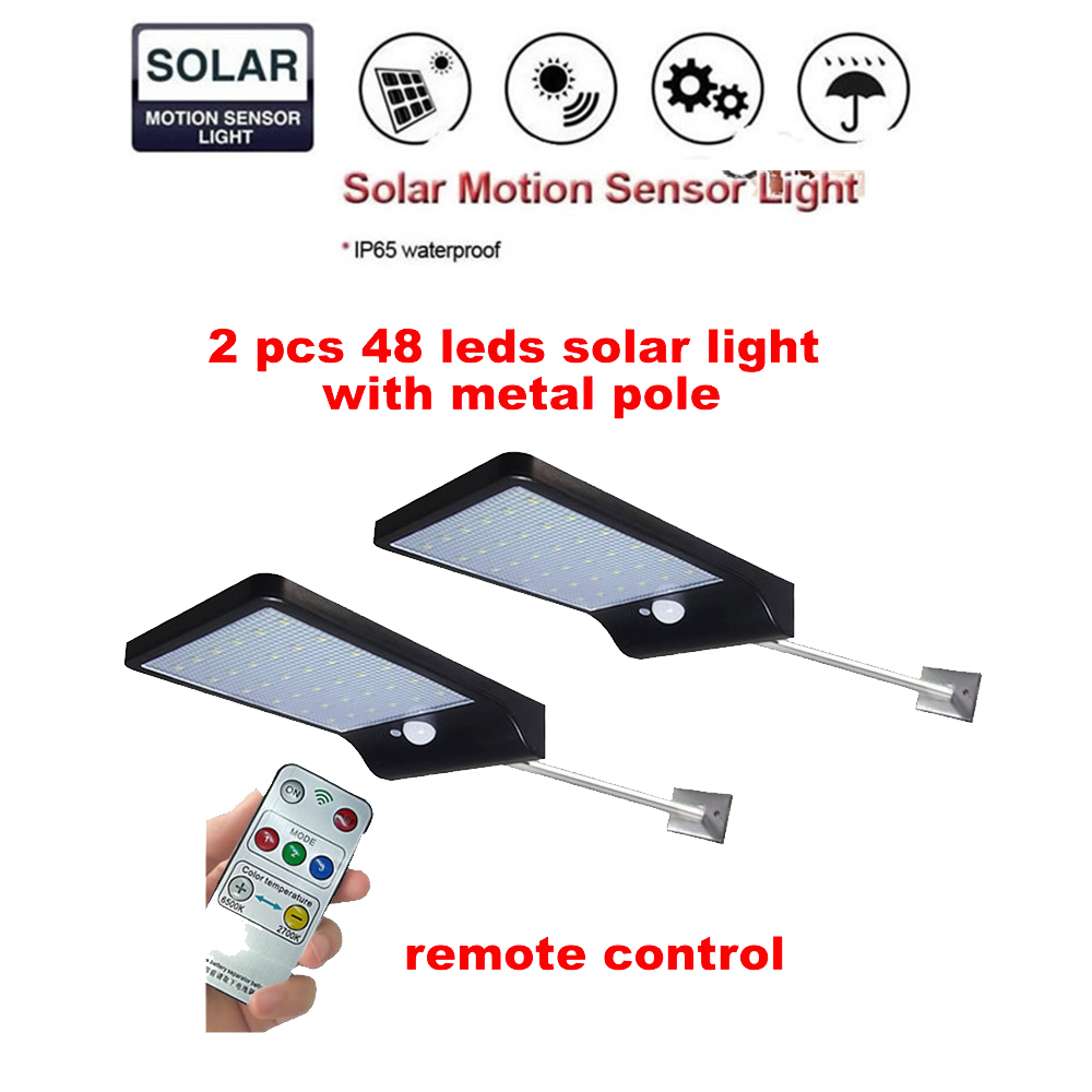 2/4pcs LED Solar Lamp PIR Motion Sensor Night Light Emergency Security Outdoor Garden Street Pathway Light Wall Spotlights 3 Mod