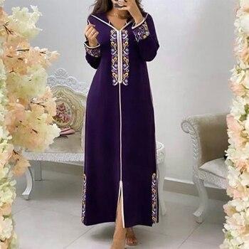 Boho Women Long Fashion Spring Dress Champagne African Female Long Sleeve Hooded Casual Vintage Muslim Jellaba Kaftan Dress 2