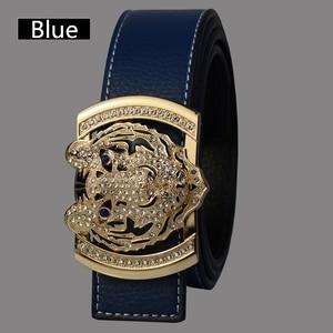 Image 4 - 2020 Luxury Brand Belts for Men Fashion Shiny Diamond Domineering Tiger Head Buckle Waist Shaper Leather Belts