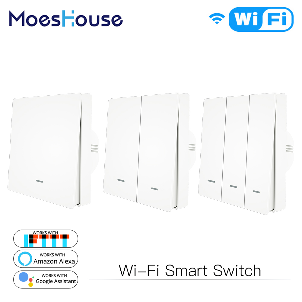 WiFi Push Button Smart Switch 1/2/3 Gang Remote Control Light Switch By Smart Life/Tuya App Works With Alexa, Google Home
