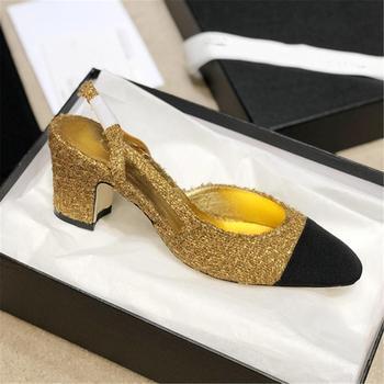 Damskie sandały 2020 damskie buty blokowe obcasy damskie klamry Party Sandalias Sexy klasyczne sandały damskie buty w kratkę sandały tanie i dobre opinie DiJiGirls Pasek stawu skokowego Plac heel CN (pochodzenie) Prawdziwej skóry Skóra bydlęca Med (3 cm-5 cm) Pasuje prawda na wymiar weź swój normalny rozmiar