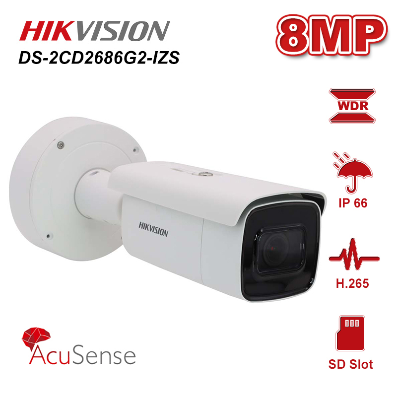 Hikvision Original DS-2CD2686G2-IZS 8MP POE 4K AcuSense Bullet Network IR Camera Varifocal Fixed Zoom IP67 H.265+