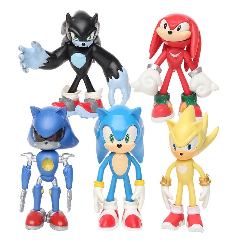 5 Pçs/set 12 centímetros Caudas Sonic Sombra Chaveiros Figuras de Brinquedo Pvc Brinquedo Personagens Sonoras Figura Brinquedos Para Crianças Animais Brinquedos Conjunto