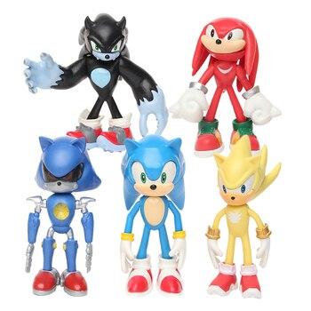 5Pcs/Set 12cm Sonic Figures Toy Pvc Toy Sonic Shadow Tails Keychains Characters Figure Toys For Children Animals Toys Set 6pcs set hot sale sonic figures toy pvc sonic shadow tails characters figure sonic shadow tails characters figure toys