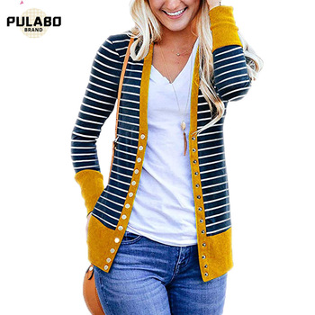 Outerwear & Coats Jackets Spring Autumn Long Sleeve Loose Casual Striped Cardigan Coats And Jackets Women Outwear Overcoat