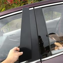16PCS PC Glossy Black Window Pillar Trim Sticker Car Styling For 2019 2020 Toyota Corolla