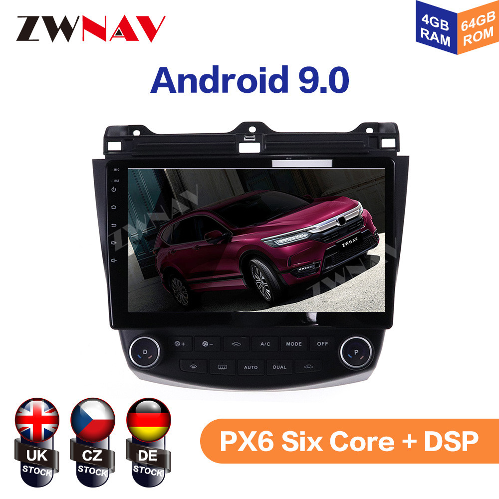 <font><b>Android</b></font> 9.0 4+64G For <font><b>Honda</b></font> <font><b>Accord</b></font> 2003 <font><b>2004</b></font> 2005 2006 2007 IPS HD Screen <font><b>Radio</b></font> Car Multimedia Player GPS Navigation Audio Video image