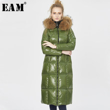 [EAM] Loose Fit Fur Collar Pocket Down Jacket New Hooded Long Sleeve Warm Women Parkas Fashion Tide Autumn Winter 2019 1A370(China)