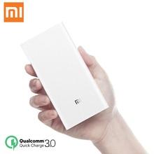 원래 Xiaomi 전원 은행 20000mAh 휴대용 충전기 아이폰 Xiaomi 외부 배터리 지원 듀얼 USB QC 3.0 Powerbank 20000