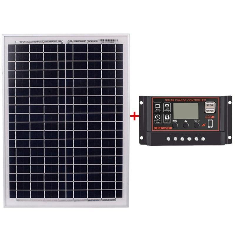 Solar Panel 18V20W Black Solar Panels + 12V/24V Solar Controller With Usb Interface Battery Travel Power Supply(40A)