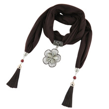 цены Ancient silver double-layered petals Polyester fringed jewelry scarf alloy hollow pattern pendant scarf ladies outlet
