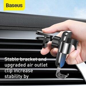 Image 4 - Baseus Metal araba telefon tutucu 360 derece cep telefon tutucu araba hava firar dağı klip standı akıllı telefon için yerçekimi braketi
