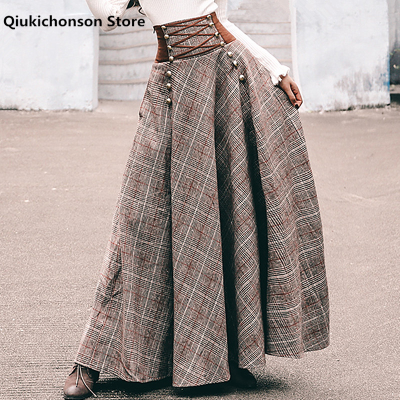 French Chic Vintage High Waisted Button Design Back Lace-Up Corset Skirt Women Autumn Winter Thick A-Line Long Maxi Wool Skirts
