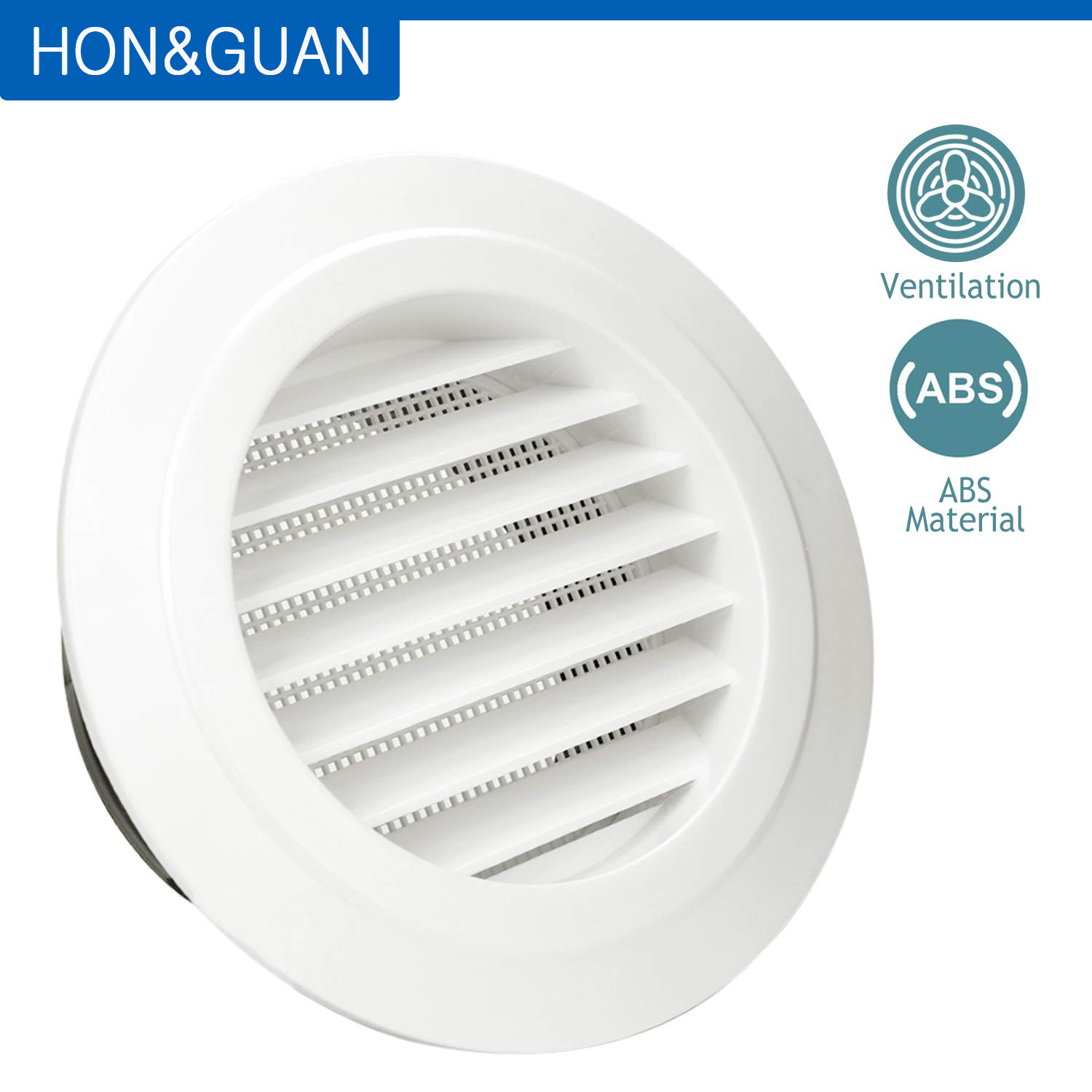Hon&Guan Round Air Vent ABS Louver Grille Cover White Soffit Vent With Built-in Fly Screen Mesh For Bathroom Office Ventilation