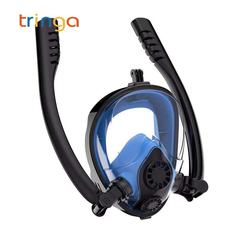 Diving Mask for Adult&Kids Underwater Anti Fog Full Face Snorkeling Swimming Diving Mask K2 Breathing Separation Snorkel Mask(China)