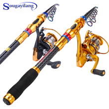 Sougayilang Fishing Rod Reel Combos, Collapsible Telescopic Fishing Pole with 13+1BB Spinning Reel Fishing Wheel Fishing Kit new lure rod set spinning rod fishing reel combos full kit 1 8m 3 0m fishing rod pole reel line lures hooks portable bag