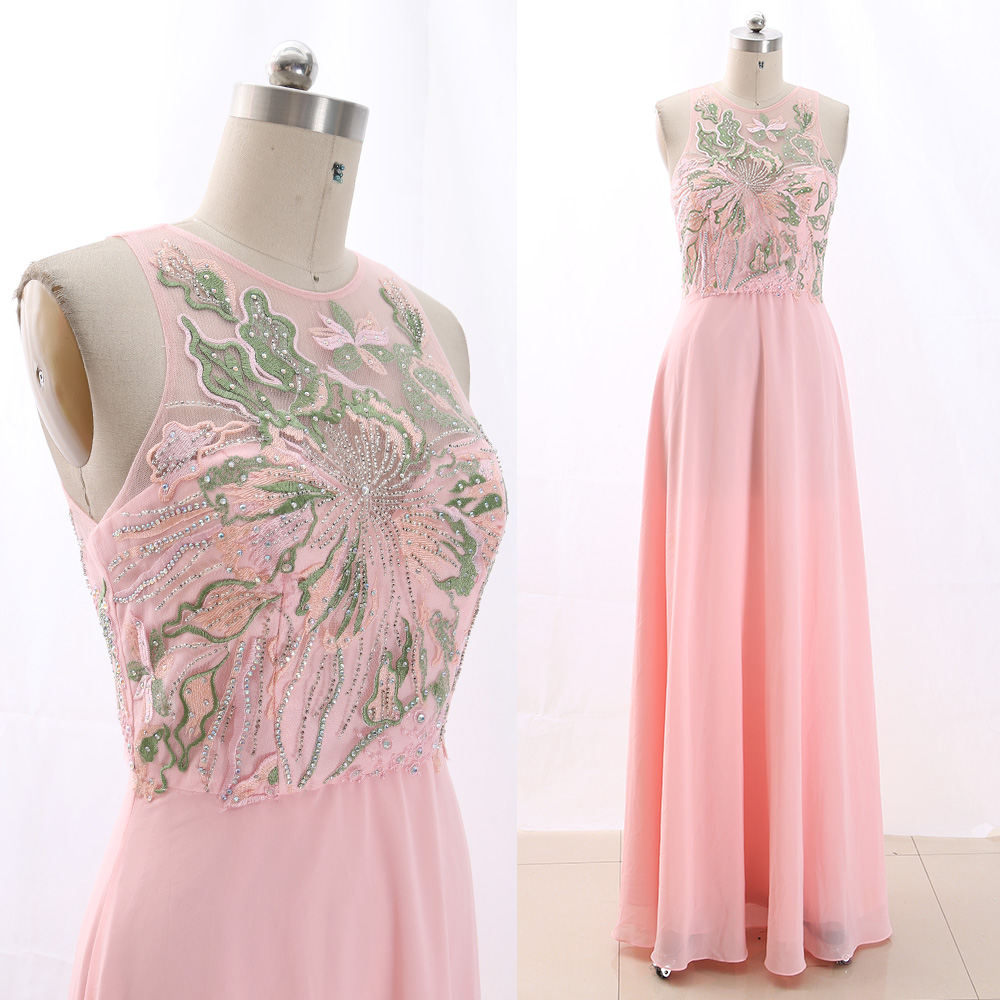 MACloth Pink A-Line O Neck Floor-Length Long Crystal Tulle   Prom     Dresses     Dress   M 266328 Clearance