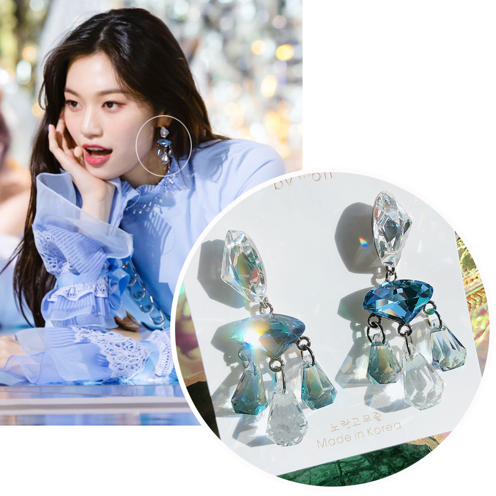 MENGJIQIAO New Korean TV Star Blue Shiny Crystal Drop Earrings For Women Elegant Summer Holiday Pendientes Party Jewelry