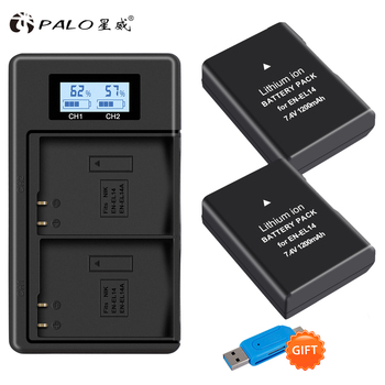 1200mAh 2x EN-EL14A EN-EL14 ENEL14 Battery+LCD USB Dual Charger for Nikon D3100 D3200 D3300 D3400 D3500 D5600 D5100 D5200 P7000 en el14 ep 5a dummy battery adapter plug dc power bank for nikon d5600 d5500 d5300 d5200 d5100 d3500 d3400 d3300 d3200 d3100