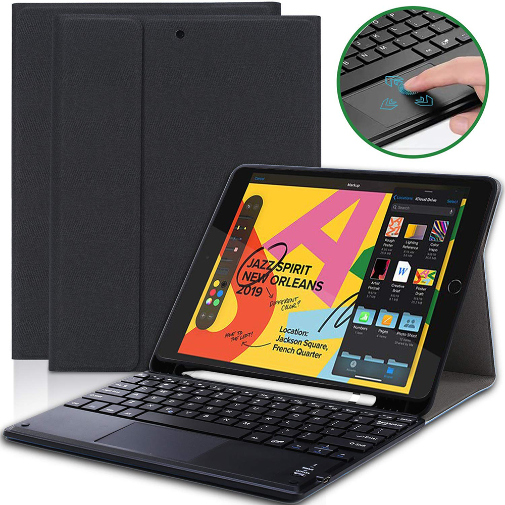 "Tablet Keyboard For Apple iPad 7th Gen 10.2"" 2019 Tablet Case USA Touchpad Keyboard PU Leather Tablet Case Set With Pencil Slots"