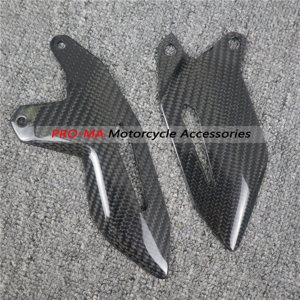 Motorcycle Bottom Engine Covers/Lower Side Panels In Carbon Fiber For Kawasaki H2 Twill Glossy Weave