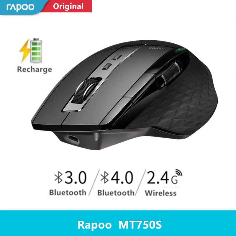Rapoo MT550/MT750S Multi-mode Wireless Mouse Bluetooth 3.0/4.0 And 2.4G Switch For Four Devices Connection Computer Gaming Mouse