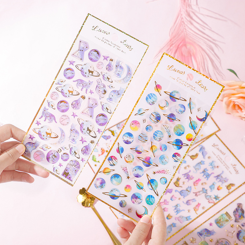 Last Night Stars Series Waterproof Personality Bronzing PVC Stationery Sticker Student Handbook Photo Album Crystal Sticker