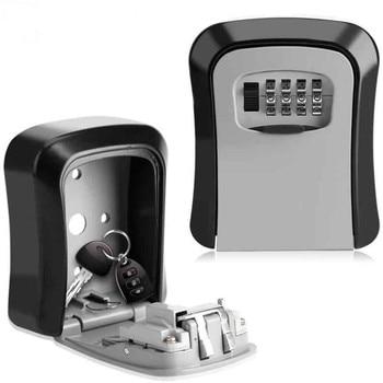 Key Safe Box MetalKey Lock Box Wall Mounted Aluminum alloy Weatherproof 4 Digit Combination Key Storage Lock Box недорого