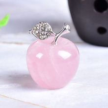 1PC Natural Rose Quartz Powder Crystal Apple Home Decor Valentine's Day/Christmas present DIY gift Polished Healing stone