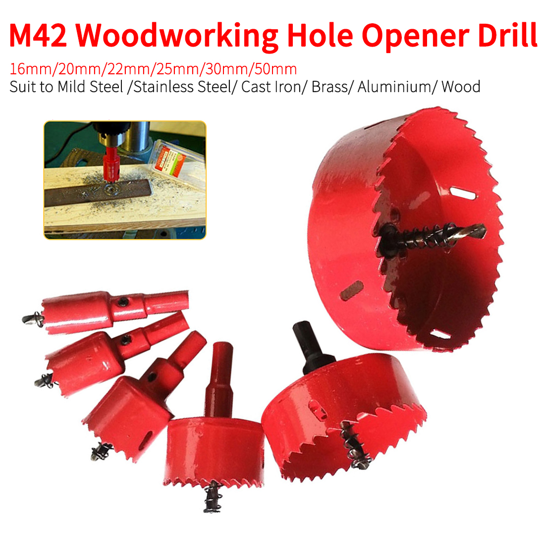 M42 Metal Wood Hole Saws Opener Drill Bit For Woodworking DIY Wood Cutter Drill Bit 16mm/20mm/22mm/25mm/30mm/50mm