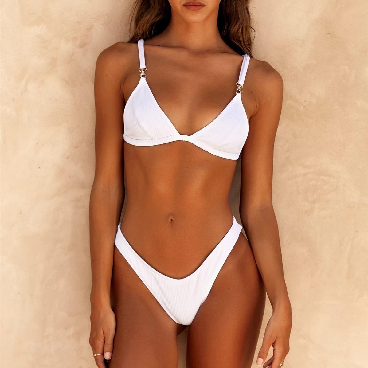 2020 Sexy White Bikini Swimwear Women Swimsuit Brazilian Bikini Set Halter Top Beach Wear Bathing Suits Biquini High Cut Summer