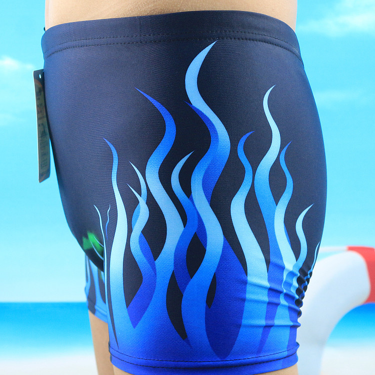 Boxer Adult Swimming Trunks Ultra-stretch Men Flame Swimming Trunks Chinlon Multi-color High-waisted Conservative Swimming Trunk