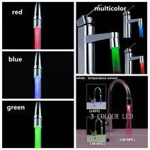 Красочный Светодиодный светильник с датчиком температуры, без батареи, водопроводный кран, RGB светящийся душ