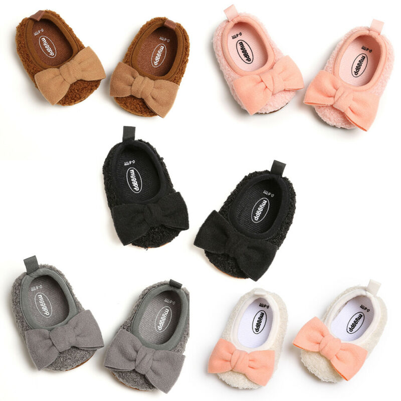 LOOZYKIT 0-18M Infant Newborn Baby Girls Shoes Warm Plush Bow Knot Baby Girl First Walkers Cute Princess Shoes Autumn Winter