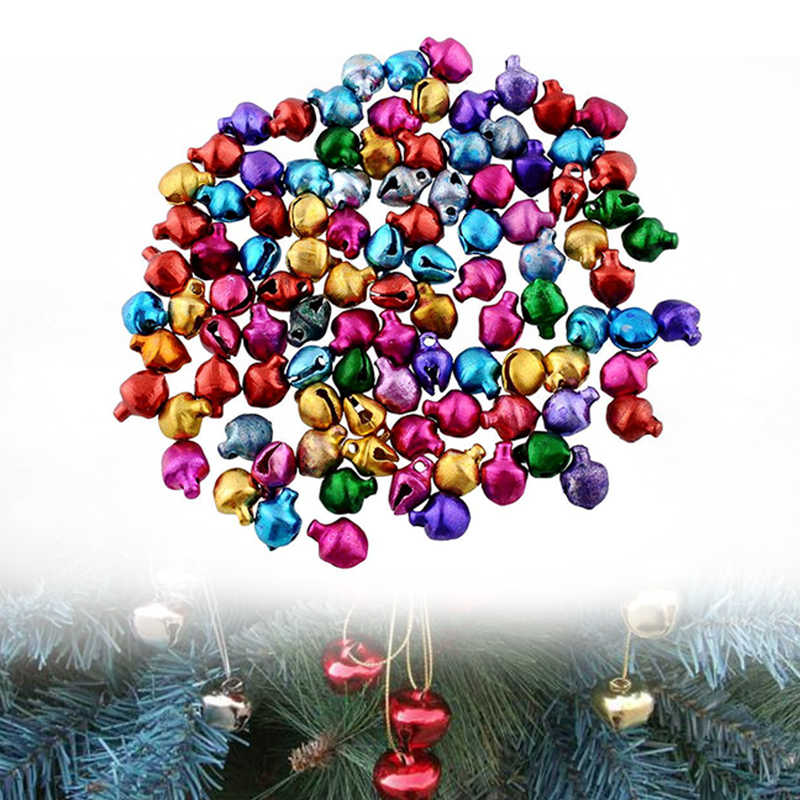 100X Jingle Bells Xmas ผสมลูกปัดเครื่องประดับคริสต์มาส Santa Claus Tree Baubles