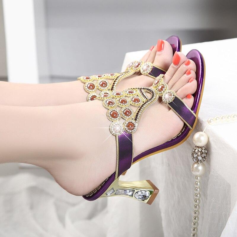 Шлепанцы; женская летняя обувь; модные шлепанцы из натуральной кожи на высоком каблуке с кристаллами и агатом; шлепанцы с открытым носком; пикантная женская обувь - 4