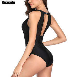 Image 2 - Riseado Sexy Mesh Swimwear Women Halter One Piece Swimsuit Black Beachwear Ruched Bathing Suits Backless Swimming Suit Summer