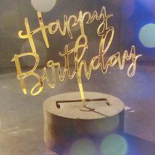 1 stcke Schwarz Gold Kuchen Topper Glcklich Geburtstag Jahrestag Cupcake Top Fahnen Kerzen fr Geburtstag Party Familie Backen