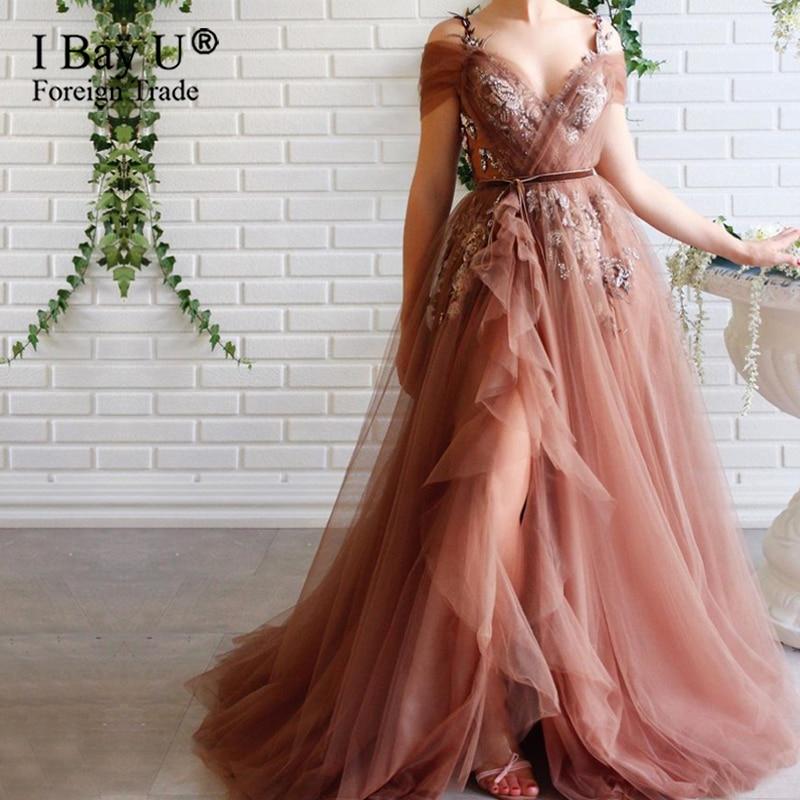 Elegant Formal Lace Mesh V-neck Beading Evening Dress Opening Date Concert Dating Party Dress
