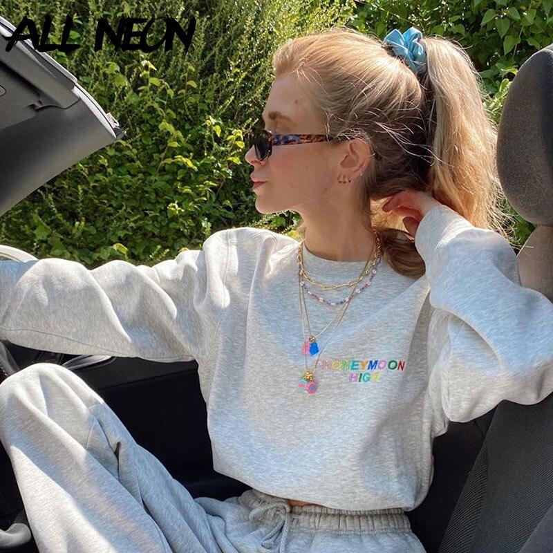 ALLNeon E-girl Sweet Oversized Letter Embroidery Cropped Sweatshirts Y2K Style O-neck Long Sleeve White Tops 90s Streetwear Fall