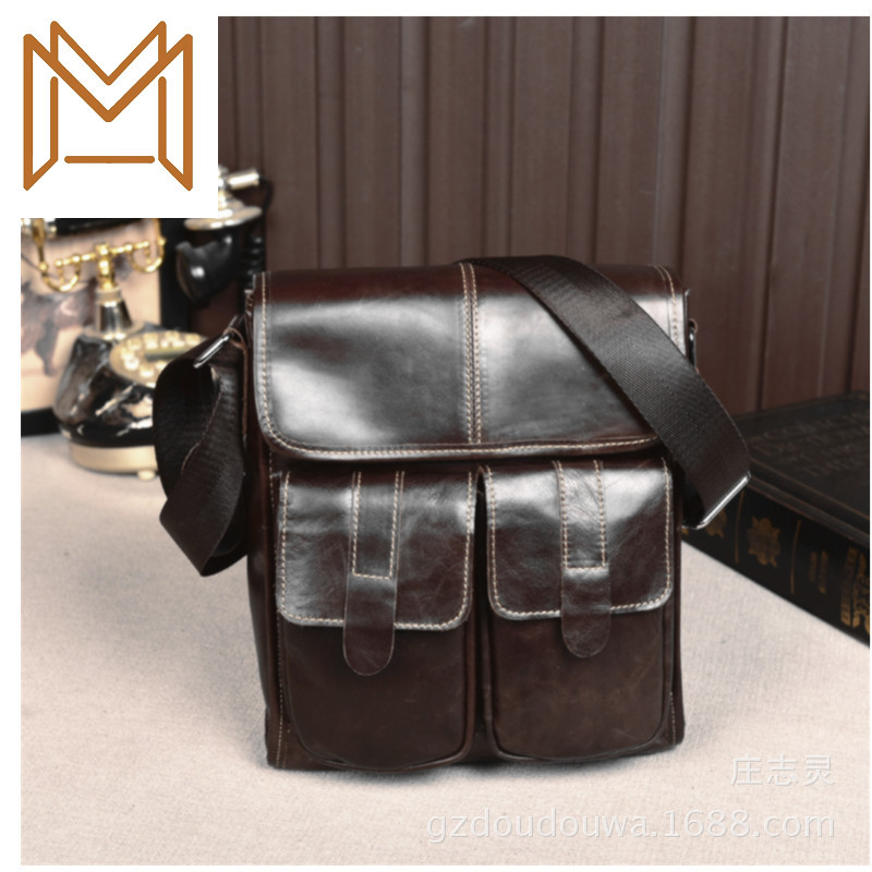 Genuine Leather Male Package Single Shoulder Layer Cowhide Outdoors Oblique Satchel Business Affairs Portable Briefcase
