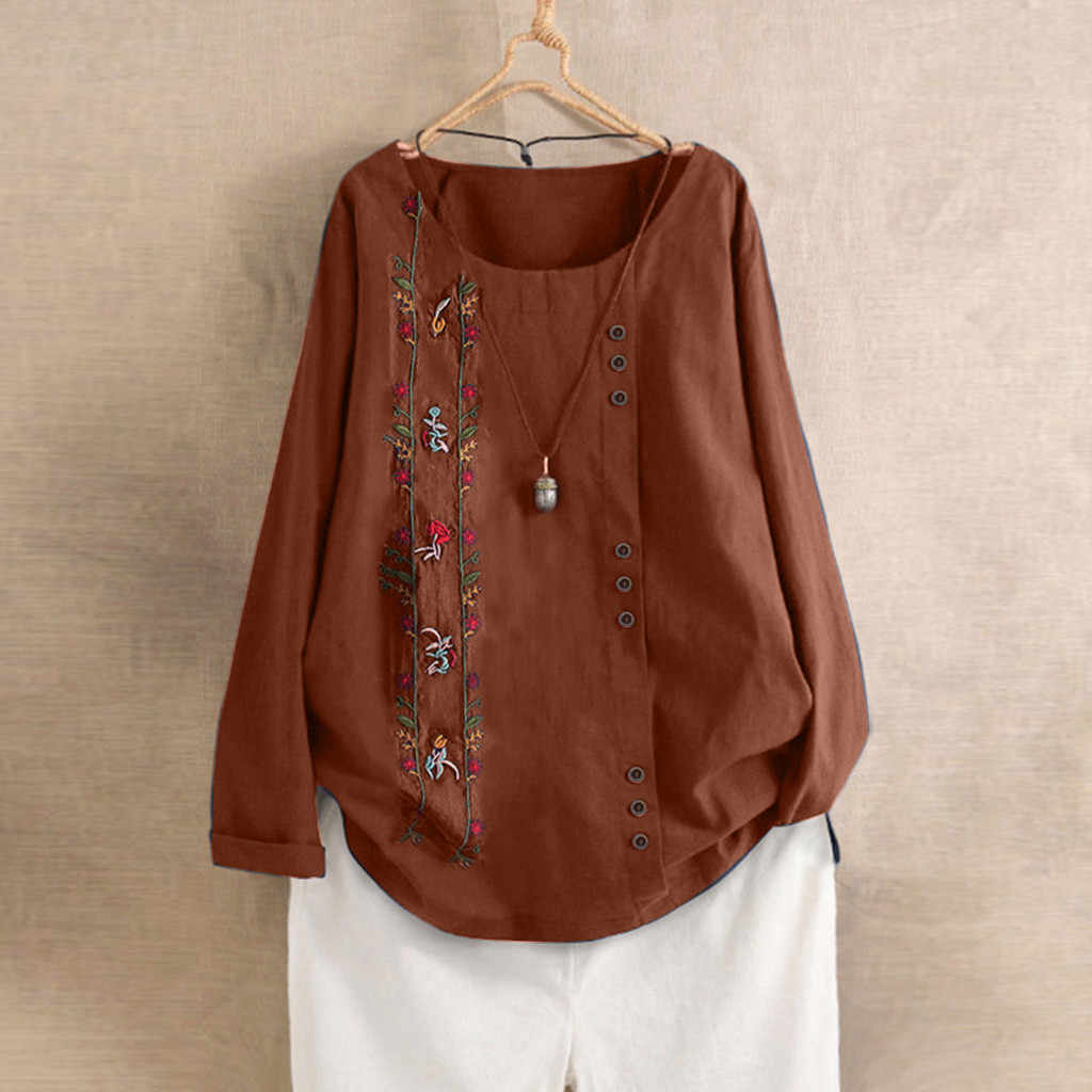 Блузки женские s свободные пуговицы льняные Большие размеры повседневные Boho Tanic рубашка блузка Топы Блузки, женские рубашки Mujer женские блузки