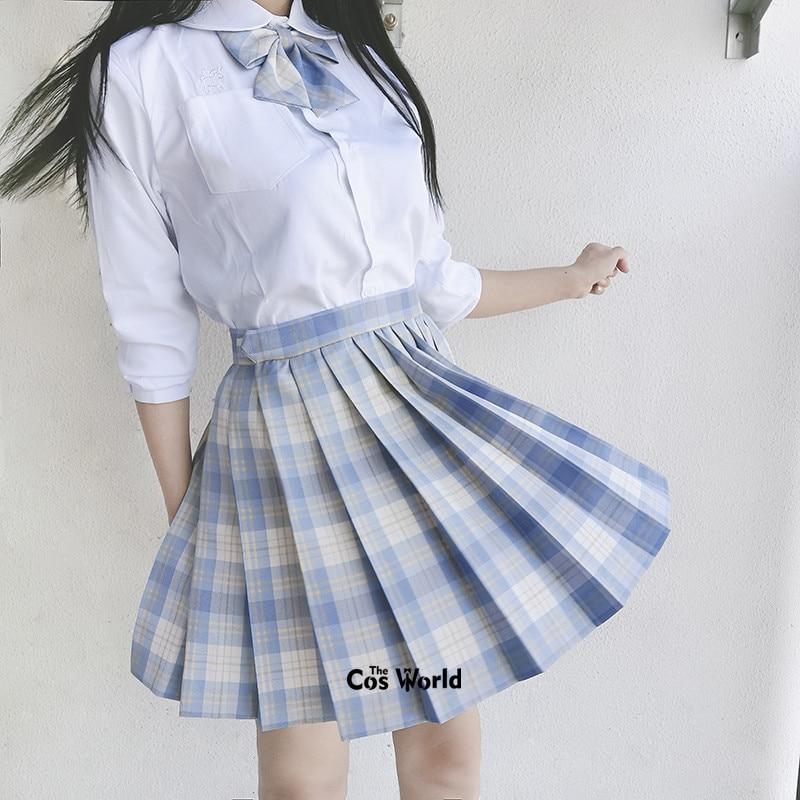 [ Ice Cream] Girl's Summer High Waist Pleated Skirts Plaid Skirts Women Dress For JK School Uniform Students Cloths
