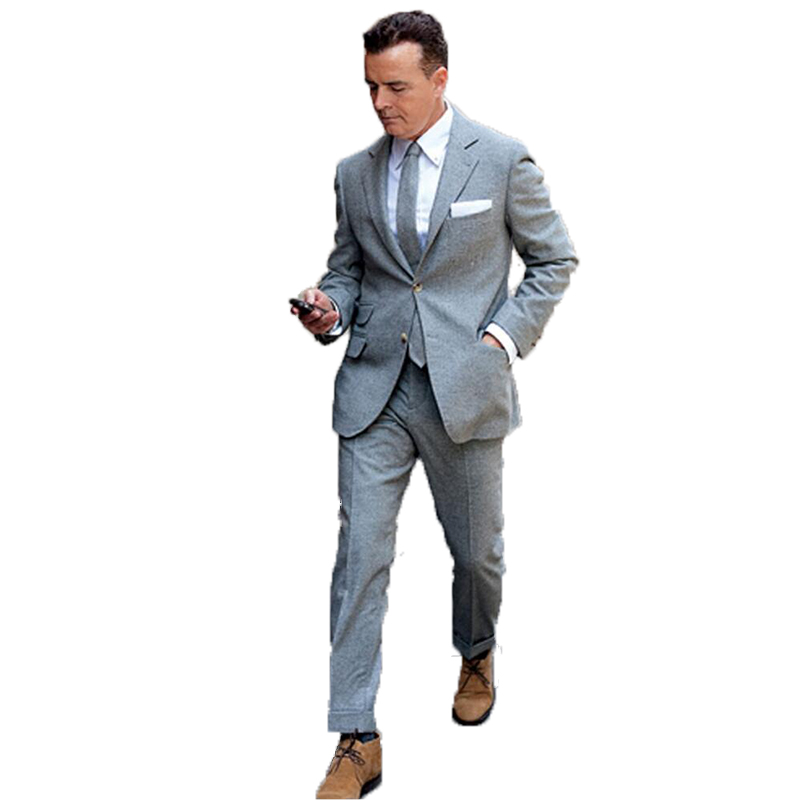 2020 Grey Tweed Men Suits For Wedding Custome Made Dinner Suits Business Suit Evening Dress Groom Wear Two Pieces(Jacket+Pants)