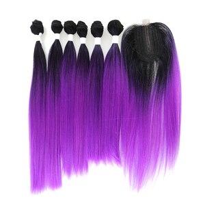 SOKU синтетические пряди волос, плетение с закрытием кружева, длинные волосы, волнистые, фиолетовые, красные цвета, прямые волосы