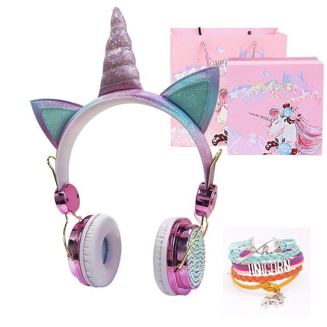 เด็กตลกชุดหูฟังที่มีสีสันเพชรยูนิคอร์นหูฟังสาวเพลงหมวกกันน็อคแบบมีสายหูฟังของขวัญกล่องChristmas Brithday