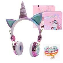 Drôle enfants casque coloré diamant licorne casque filles musique casque filaire écouteurs avec cadeaux boîte noël Brithday