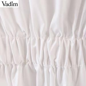 Image 3 - Vadim women chic oversized white blouse V neck back elastic long sleeve shirt female stylish office wear tops blusas LB786