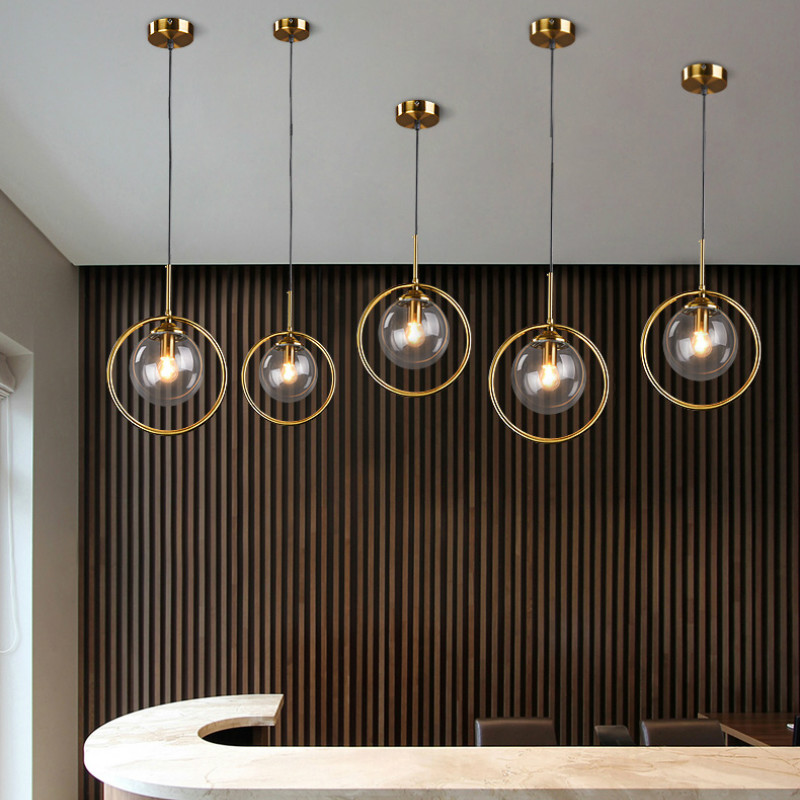 Copper Geometric Pendant Light Glass Ball Bubble Light Dining Room Kitchen Island Dinning Table Light Retro Lights Hanging Lamp|Pendant Lights| - AliExpress